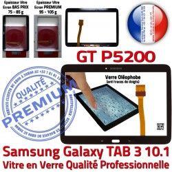 N TAB3 10.1 Verre Ecran Qualité en Prémonté LCD PREMIUM Noire Vitre Supérieure P5200 Tactile TAB Assemblée Samsung Adhésif Galaxy 3 GT GT-P5200