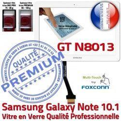 Adhésif Samsung en GT-N8013 10.1 Supérieure Assemblée Ecran Blanche Vitre Tactile PREMIUM LCD N8013 Verre Qualité NOTE Prémonté B Galaxy GT