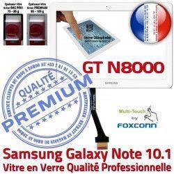 NOTE N8000 Adhésif GT Ecran Assemblée Vitre Prémonté 10.1 GT-N8000 Tactile Supérieure PREMIUM Samsung LCD Galaxy en Verre Qualité Blanche Whi