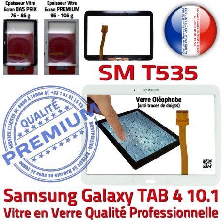 Samsung Galaxy SM-T535 Tab4 B Qualité Prémonté TAB4 Assemblée LCD PREMIUM Verre Adhésif Ecran Tactile Blanche en 10.1 Vitre Supérieure