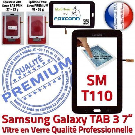 Samsung Galaxy TAB 3 SM-T110 N Noire Supérieure T110 TAB3 Qualité PREMIUM Verre LCD Vitre Prémonté Assemblée Adhésif 7 en SM Ecran Tactile
