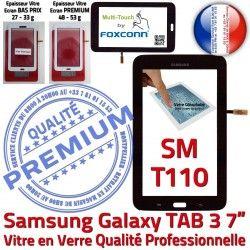 Ecran 7 Assemblée Samsung LCD Tactile TAB3 Noir Galaxy en Adhésif LITE Vitre Supérieure SM Verre SM-T110 Noire T110 Prémonté PREMIUM Qualité