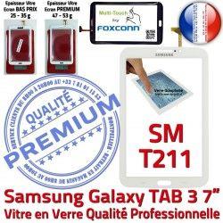 Vitre en SM-T211 Ecran Verre Adhésif Blanche PREMIUM Qualité TAB3 Samsung Tactile B Galaxy LCD Supérieure Assemblée 7 Prémonté Tab3