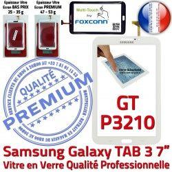 Ecran en Samsung Prémonté 3 Qualité TAB Verre P3210 Galaxy 7 Vitre PREMIUM Assemblée Tactile B LCD GT Supérieure GT-P3210 Adhésif TAB3 Blanche