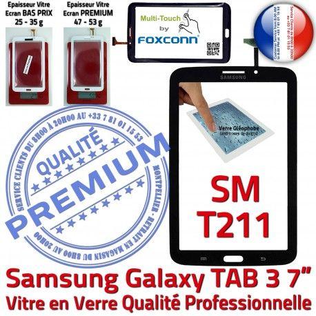Samsung Galaxy TAB 3 SM-T211 N PREMIUM Adhésif Vitre Assemblée Qualité Tactile en Ecran SM Prémonté Supérieure Verre 7 Noire LCD TAB3 T211