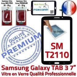Assemblée en Samsung Vitre LCD Ecran Noire N Verre Tactile 7 SM-T2110 Tab3 PREMIUM Galaxy Supérieure Adhésif Qualité Prémonté TAB3