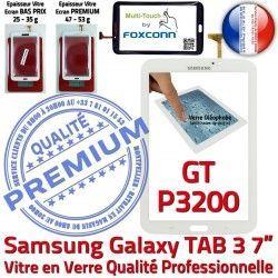 3 Prémonté en Adhésif Tactile Qualité Vitre B TAB3 Samsung Supérieure LCD TAB 7 Blanche GT-P3200 Ecran Assemblée Galaxy Verre PREMIUM