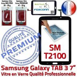 TAB3 Ecran Tactile N Assemblée Galaxy SM T2100 3 PREMIUM LCD Prémonté Vitre 7 Qualité Noire TAB SM-T2100 en Adhésif Samsung Verre Supérieure