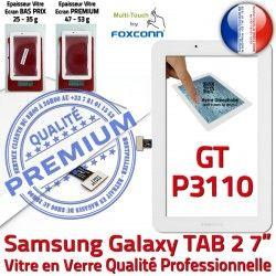 Prémonté Galaxy Verre Samsung Vitre Blanc Assemblée GT 7 Supérieure PREMIUM inch Blanche GT-P3110 Tactile LCD P3110 Ecran Qualité TAB2 Adhésif