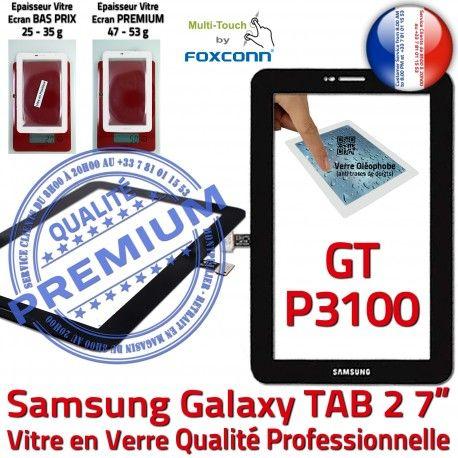 Samsung Galaxy TAB 2 GT-P3100 N Verre Qualité PREMIUM Noire Ecran Adhésif 7 Prémonté en Assemblée Tactile Vitre P3100 Supérieure TAB2 GT LCD