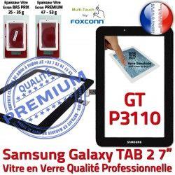 P3110 Tactile Ecran Galaxy Prémonté Supérieure Verre Samsung LCD inch TAB Assemblée 7 Qualité GT Vitre PREMIUM TAB2 2 Noire Adhésif GT-P3110 Noir
