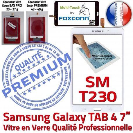 Samsung Galaxy SM-T230 TAB4 B inch Adhésif Ecran Assemblée 7 LCD Tactile Blanche Supérieure Prémonté Verre PREMIUM Qualité Vitre