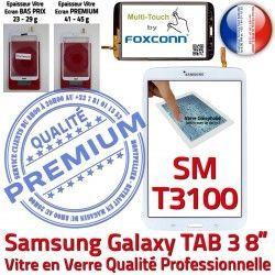 Ecran Verre Qualité PREMIUM inch en SM-T3100 Coller Samsung SM Galaxy T3100 à B Blanche Vitre TAB3 Assemblée 3 8 Prémonté TAB Supérieure Tactile