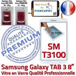 TAB3 en SM-T3100 PREMIUM inch Verre à Tactile Blanche Assemblée Prémonté Ecran Coller Qualité Samsung 8 Supérieure Galaxy B Vitre