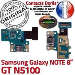 Contact Réparation ORIGINAL Chargeur C N5100 GT-N5100 Qualité Charge MicroUSB Samsung Connecteur OFFICIELLE Doré Nappe Galaxy GT de NOTE