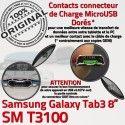 Samsung Galaxy TAB 3 SM-T3100 Ch Contacts Dorés TAB3 OFFICIELLE Qualité Chargeur Connecteur MicroUSB ORIGINAL Réparation de Nappe Charge