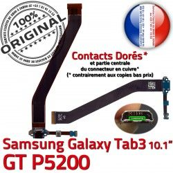 3 de OFFICIELLE Dorés Ch TAB3 TAB Réparation Charge MicroUSB Samsung Contacts Qualité Galaxy ORIGINAL Chargeur Nappe GT-P5200 Connecteur