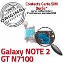 Samsung Galaxy NOTE 2 GT-N7100 S ORIGINAL Reader SD SIM Nappe Connecteur Carte Doré Qualité Connector Contact Memoire Lecteur