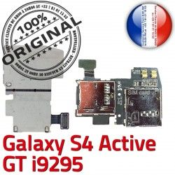 ORIGINAL Connecteur SIM S Reader Samsung Memoire Galaxy Activ Connector i9295 Contacts Lecteur Micro-SD Qualité Dorés GT Nappe S4 Carte