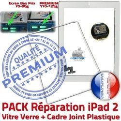 Bouton Vitre Écran Réparation Chassis Tactile B Apple Precollé Tablette HOME PACK Cadre PREMIUM Joint Verre Adhésif iPad2 Blanche