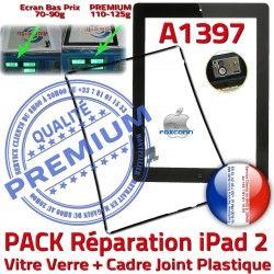 Réparation KIT Apple iPad2 A1397 Precollé Chassis Noire N 2 Joint Cadre PACK HOME Tablette Tactile Adhésif Vitre iPad Verre PREMIUM Bouton
