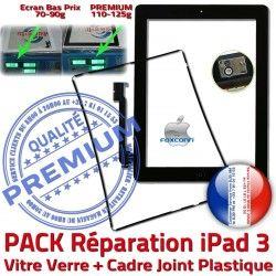 3 Réparation Vitre KIT PREMIUM HOME Tactile Tablette Bouton iPad3 iPad Contour Noire Apple Precollé Verre Joint PACK Cadre Chassis N Adhésif