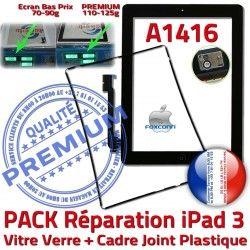 Réparation Bouton Verre Adhésif Noire Joint iPad Vitre Cadre Precollé KIT N HOME Apple iPad3 PREMIUM PACK Tactile Chassis 3 Tablette A1416