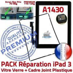 Verre PACK KIT Vitre Apple N Precollé Joint Adhésif Chassis 3 PREMIUM HOME Noire Tactile iPad3 Bouton A1430 Cadre Tablette Réparation iPad