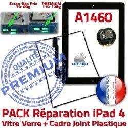 iPad Chassis Réparation PREMIUM Tactile Verre N Noire Precollé Joint Tablette KIT Vitre A1460 Adhésif Cadre iPad4 Apple HOME 4 PACK Bouton
