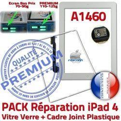 PACK Tablette A1460 B iPad4 Precollée Joint 4 Vitre Apple PREMIUM Cadre Bouton Réparation HOME iPad Tactile Contour Blanche Adhésif Verre