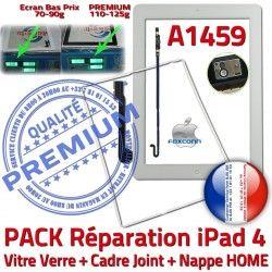 KIT Bouton Plastique Verre A1459 Apple Blanche Cadre Nappe Tactile Adhésif Réparation Contour Tablette Vitre Joint B HOME Precollé iPad4 PACK