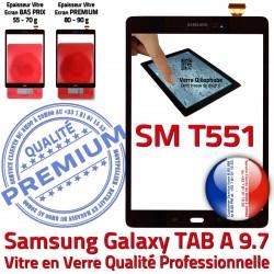 SM-T551 Prémonté Assemblée SM Noir PREMIUM T551 Samsung Verre A Supérieure Tactile Vitre TAB-A TAB Noire Qualité Adhésif N Ecran Galaxy 9.7