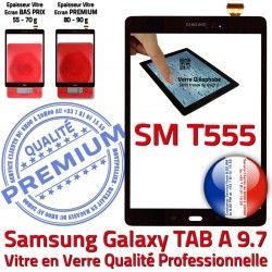 Adhésif TAB-A Noir Vitre Ecran Assemblée 9.7 Qualité A Samsung N Tactile Noire Supérieure Prémonté SM-T555 PREMIUM SM Verre Galaxy T555 TAB
