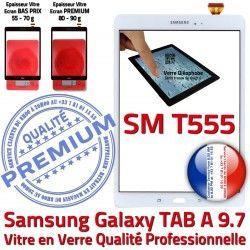 TAB-A Qualité SM 9.7 PREMIUM SM-T555 A Assemblée TAB Adhésif Verre Blanc Vitre Tactile Supérieure Ecran Prémonté T555 Blanche Samsung Galaxy B