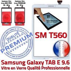 Ecran SM-T560 TAB Blanche Blanc Qualité Galaxy Verre E TAB-E PREMIUM Prémonté Adhésif Vitre Assemblée B Tactile T560 Supérieure 9.6 Samsung SM