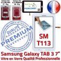 SM-T113 LITE Tab3 Blanc PREMIUM Galaxy Blanche Assemblée Samsung Adhésif Supérieure SM TAB3 Qualité en Vitre Verre T113 LCD Prémonté Ecran Tactile