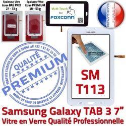 Verre SM-T113 Galaxy en T113 Samsung Adhésif Blanc SM Tactile Assemblée PREMIUM Prémonté Blanche TAB3 Ecran Qualité Vitre Supérieure LITE LCD