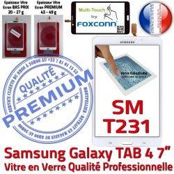 Prémonté PREMIUM Adhésif Samsung Qualité Ecran SM-T231NZWAXEF Supérieure Blanche Vitre Tactile Verre Assemblée TAB4 Galaxy LCD B