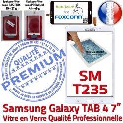 Supérieure Adhésif PREMIUM NZWAXEF SM-T235NZWAXEF B Tactile Verre SM-T235 Vitre Samsung Prémonté Galaxy Assemblée TAB4 LCD Blanche Ecran Qualité