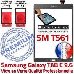Assemblée Verre SM-T561 Samsung TAB-E SM Grise Tactile Limitée E Série 9.6 T561 TAB PREMIUM Galaxy Titanium Ecran Vitre Adhésif G Gris Qualité